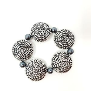 Jewelry - Silver and Black Textured Beads Bracelet